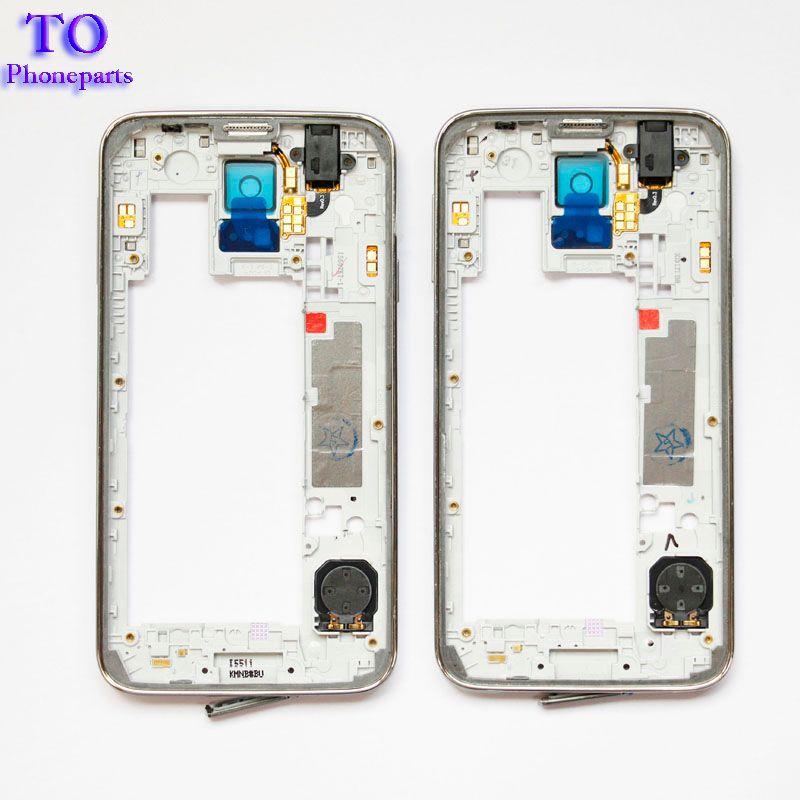 LCD 중간 격판 덮개 주거 구조 Samsung Galaxy S5 G900F G900M G900H G900A G900V G900T를위한 베젤 카메라 덮개 교체 부분