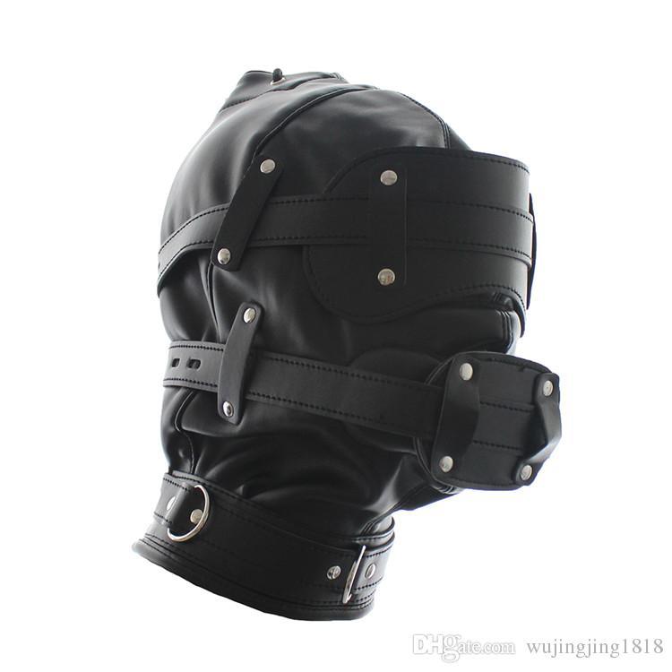 Soft Leather Slave Head Hood Bondage Gear Fetish Mask Removable Dildo Mouth Gag Goggles Fetish Fantasy BDSM Sex Toys For Couples