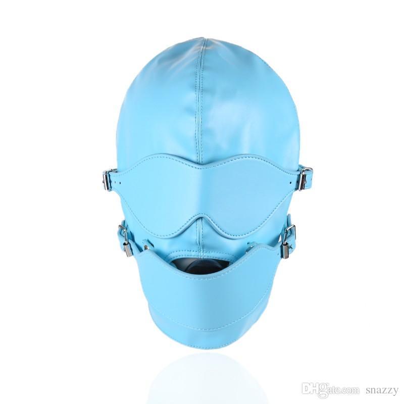 PU Leather Full Head Hood Mask Blue Removable Blindfold Eyepatch Mouth Gag MASK blindfold eye MOUTH GAG PLUG hole HEAD HOOD
