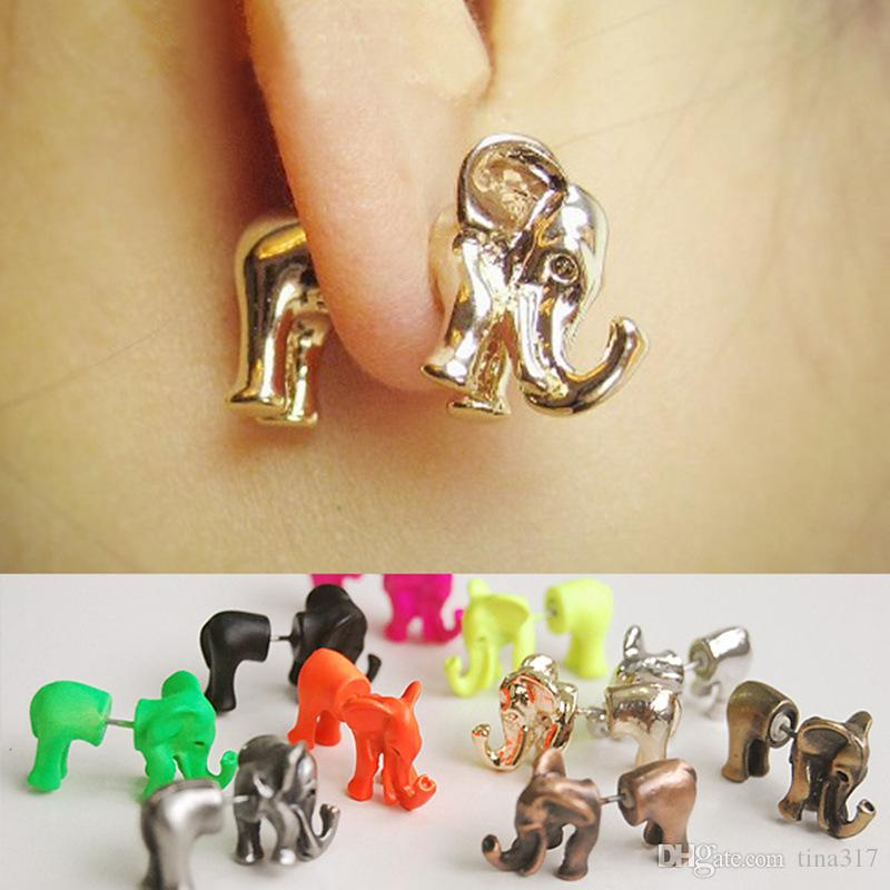 New fashion 3d animali punk piercing all'orecchio gioielli multicolore Colore orecchini elefante per le donne CC534
