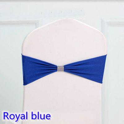 Royal blue colour tie bands Lycra sash chair sash Bow tie ribbon For Wedding Party Banquet Decoration for sale with shiny belt