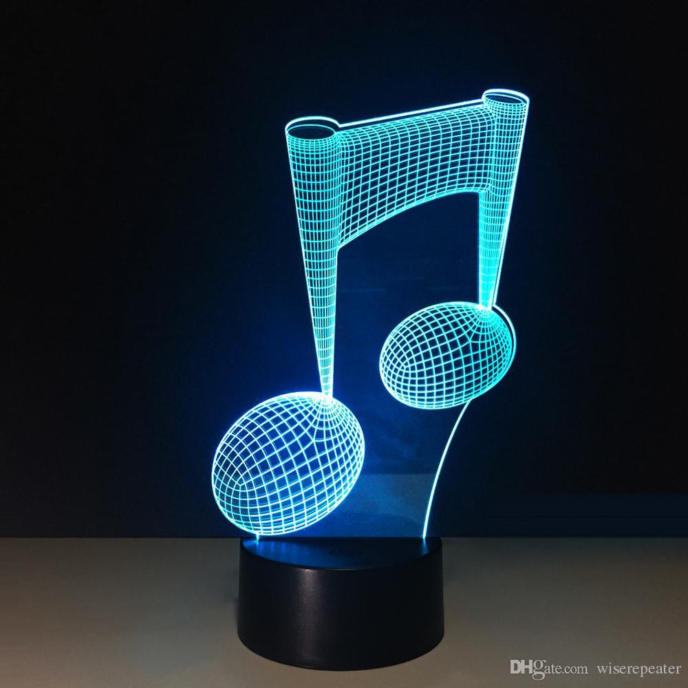 Luz de la noche de la lámpara de la ilusión de la melodía de la música 3D DC 5V Carga por USB 5ta batería Dropshipping al por mayor Envío libre Caja al por menor