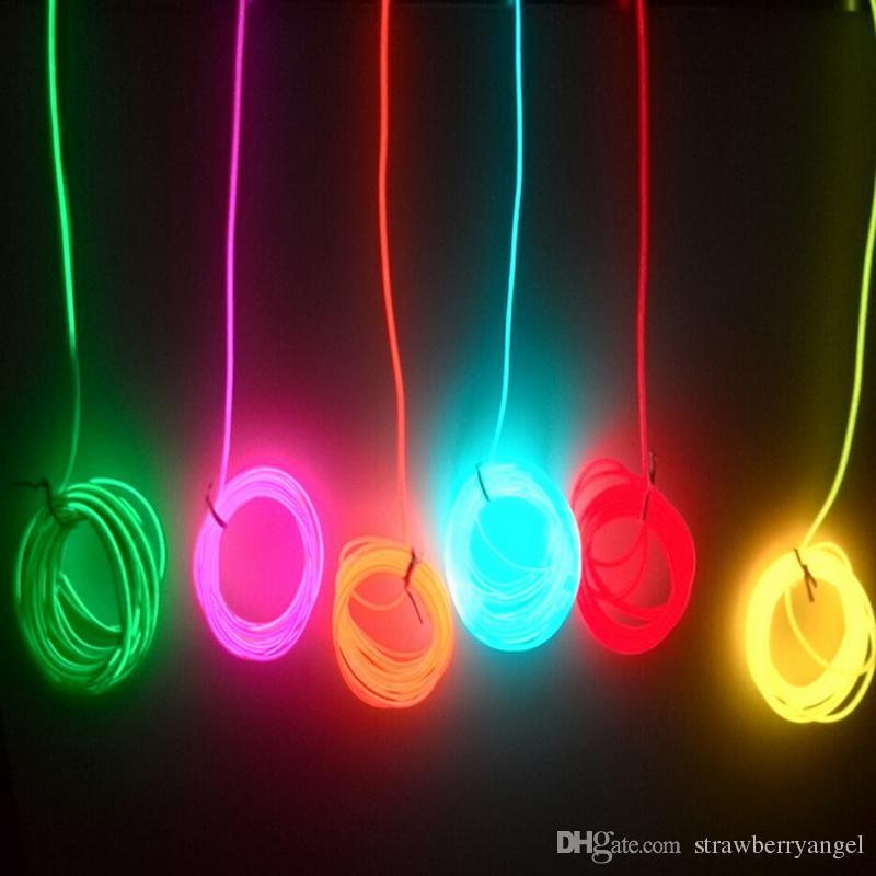 2m / Flexible Neon Light Glow EL Câble Corde tube Bande De Câble LED Neon Lights Chaussures Vêtements De Voiture partie décorative avec contrôleur de batterie
