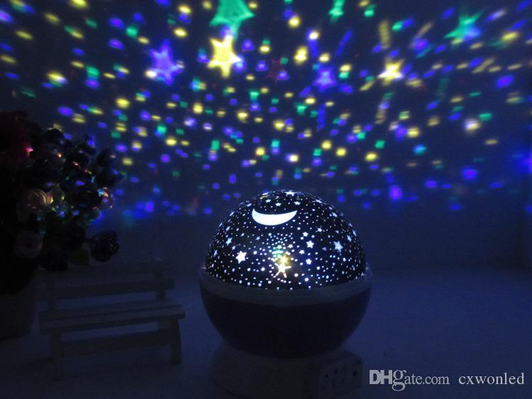 Newest Rotation Night Light Starry Star Moon Sky Romantic Night Projector Night Light for wedding party christmas