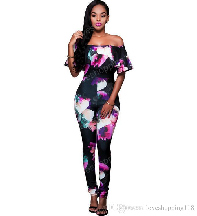 2018 ruffle off shoulder jumpsuit womens elegant floral big plus size party club overalls sexy. Black Bedroom Furniture Sets. Home Design Ideas