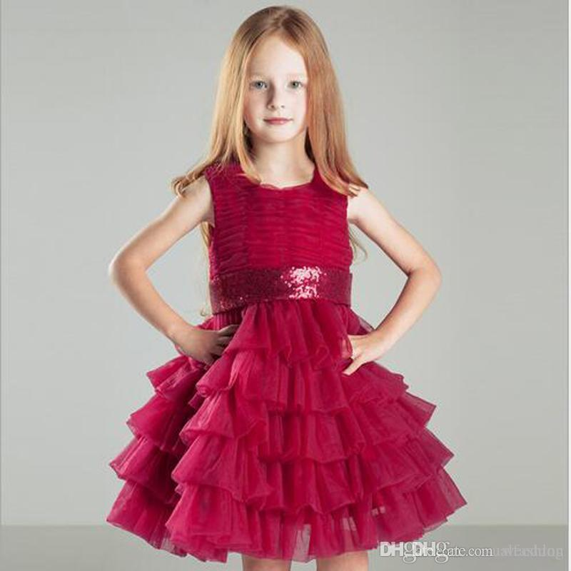 2017 Little Red Girls Dresses Crew Lace Kids Wedding Dresses For