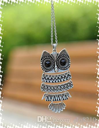 Élégant Vintage Owl pendentif collier longue chaîne de chandail Femmes Bijoux Bronze argent prix usine cadeaux de Noël /