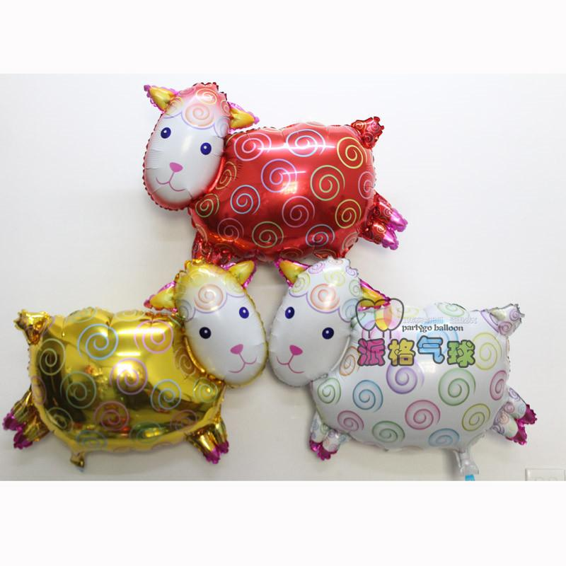 50pcs/lot gold red white color sheep shape balloon animal goat foil balloon  decorations for birthday party