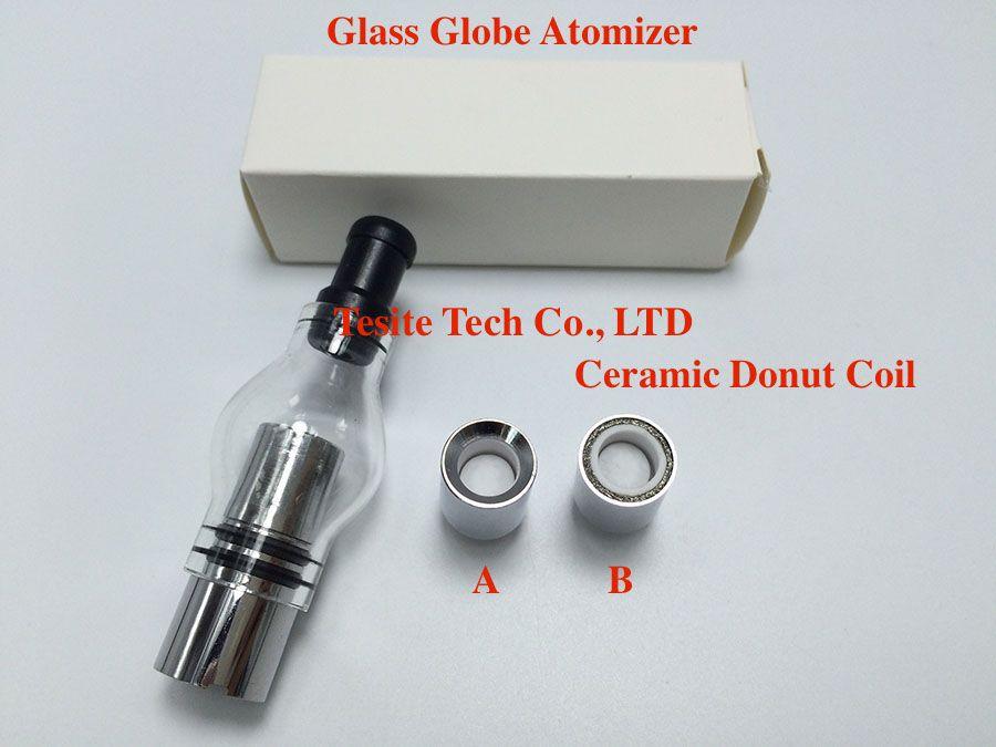 2017 Glass Globe Atomizer with Ceramic Donut Coil pyrex glass tank Wax Glass Globe Vaporizer for 510 thread battery