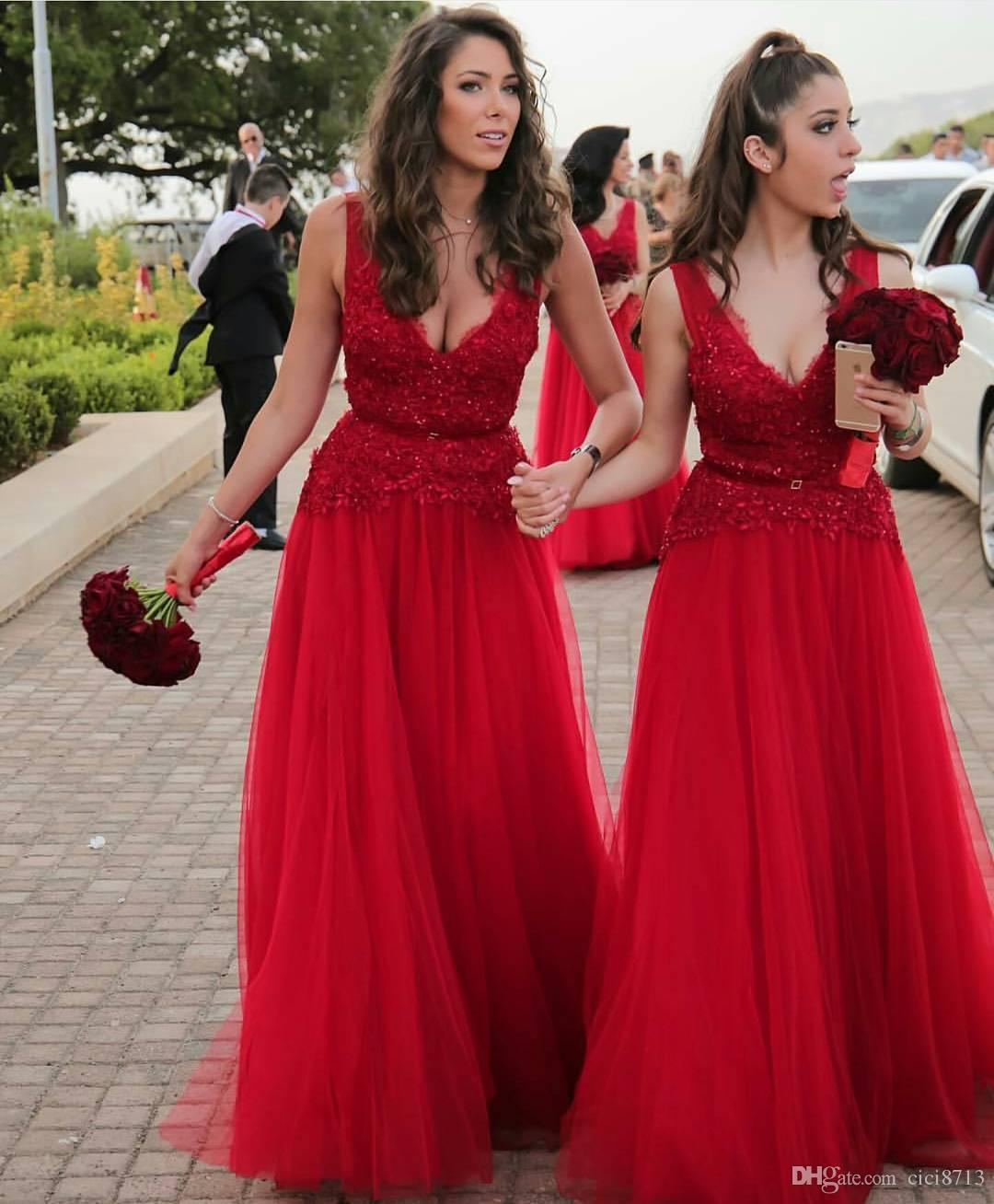 Red lace bridesmaid dresses long 2017 full length tulle maid of see larger image ombrellifo Images