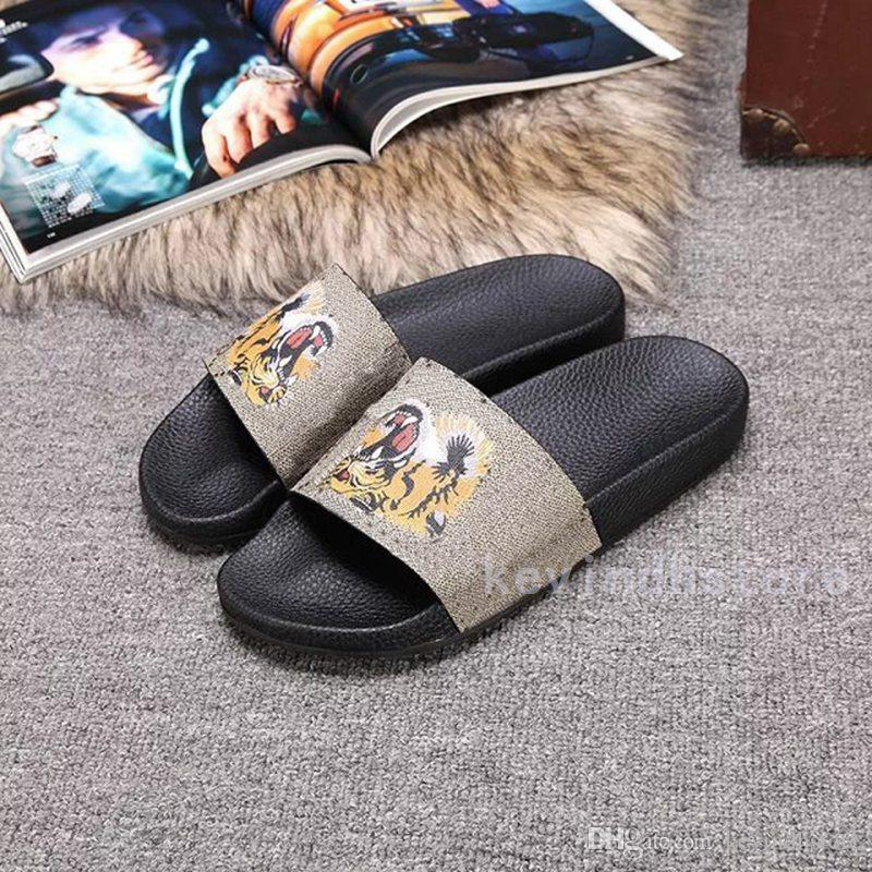 2017 Summer Indoor Cool Slippers Men And Women Fashion Tiger Head Printed  Leisure Word Drag Beach Sandals Slippers White Shoes Silver Sandals From ... a7de8e733a