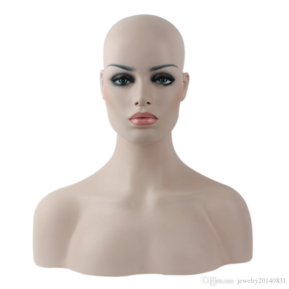 Fibra De Vidro Feminino Realista Fibra De Vidro Afro-Americano Mannequin Cabeça Busto Para Perucas Do Laço de Exibição Cinco Pele Diferente E Maquiagem