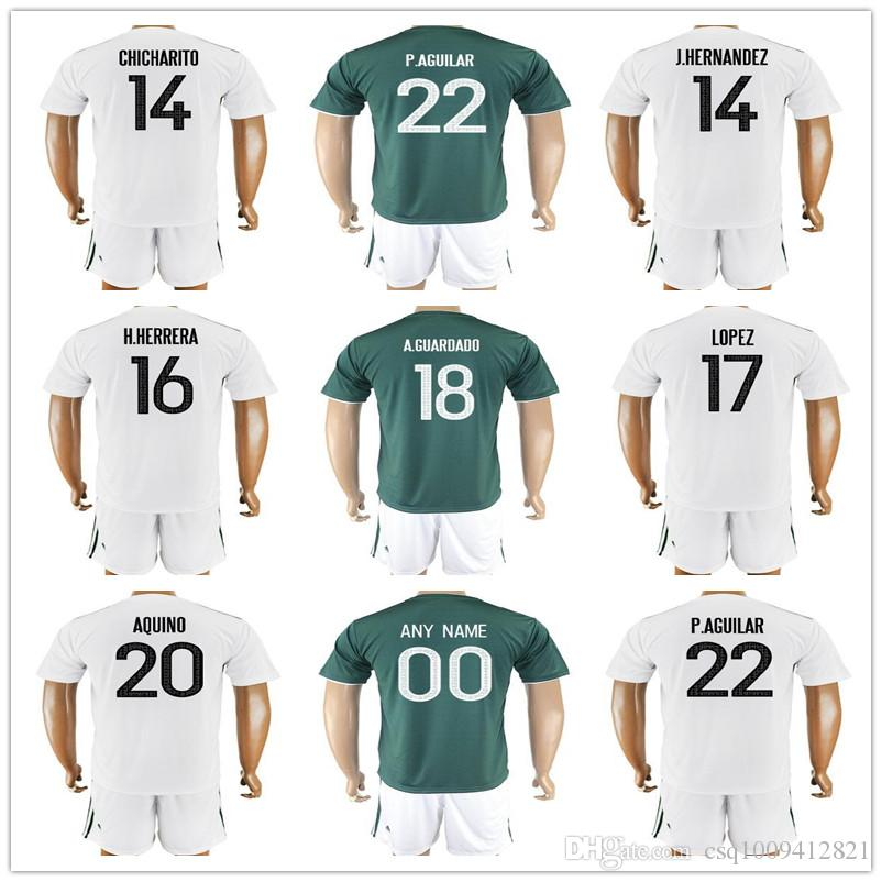 Compre Mexico Soccer Jerseys 2017 18 Fútbol Traje Verde Blanco CHICHARITO  G.DOS SANTOS O.PERALTA P.AGUILAR Jersey Personalizado 2018 Hombres Mujeres  Niños A ... 0623a2eb8cd2c