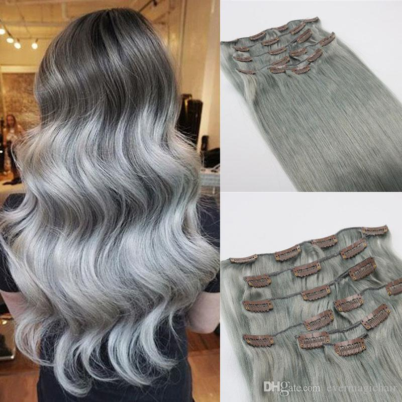Human hair extensions grey brazilian virgin hair extensions clip see larger image pmusecretfo Images