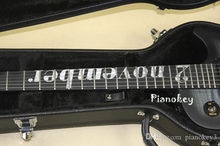 Mat Gri renk standart gitar, özel imza, abanoz klavye, aktif manyetikler elektrik gitar, ücretsiz kargo