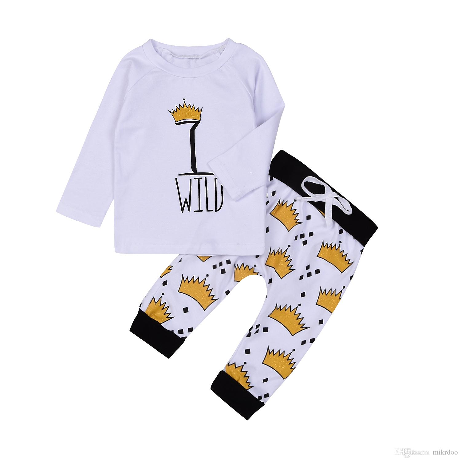 Mikrdoo Autumn New Baby Clothes Newborn Kids Baby Boy Girl WILD T-Shirt Tops Crown Long Pants Outfits Clothes Cotton Top Set Wholesale