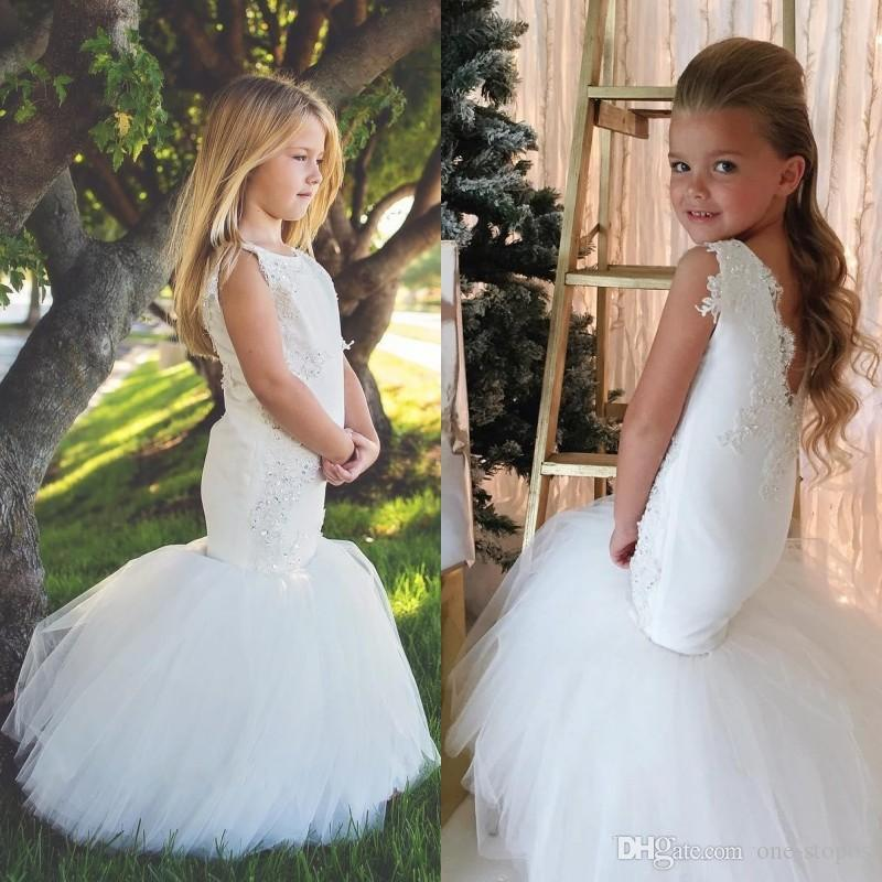 e5c9e0a4aa8 2017 Mermaid Flower Girl Dresses For Weddings Lace Appliques Beaded Girls  Pageant Gowns Tulle Floor Length Kids Trumpet Prom Party Dress Satin Flower  Girl ...
