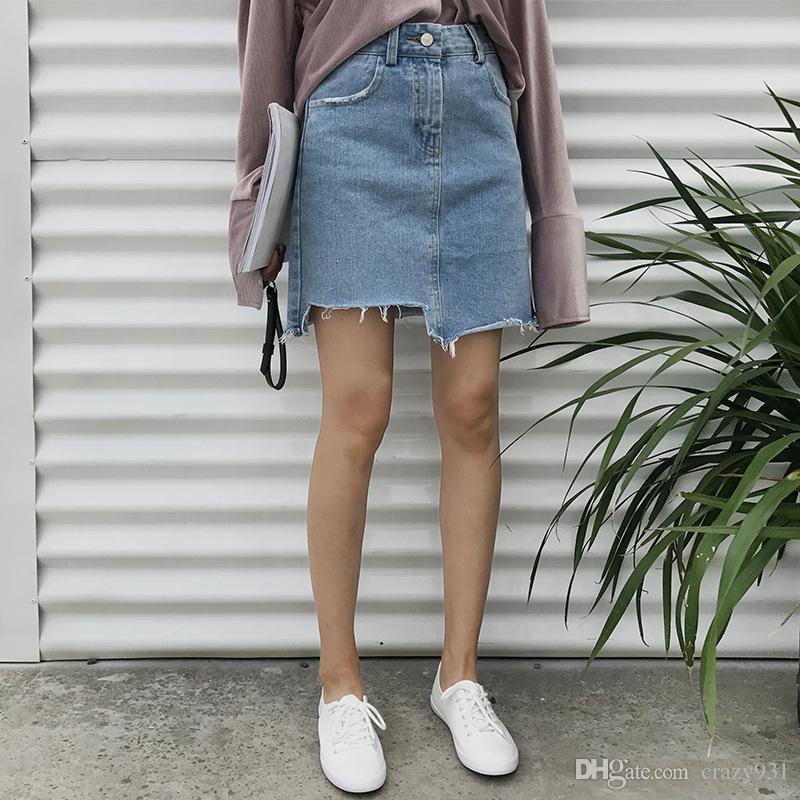 34e4a8b75a 2019 Denim Skirt 2017 Women Summer Sexy Asymmetrical Skirts Hot Midi Hole  Skirt Pocket Decor From Crazy931, $20.11   DHgate.Com
