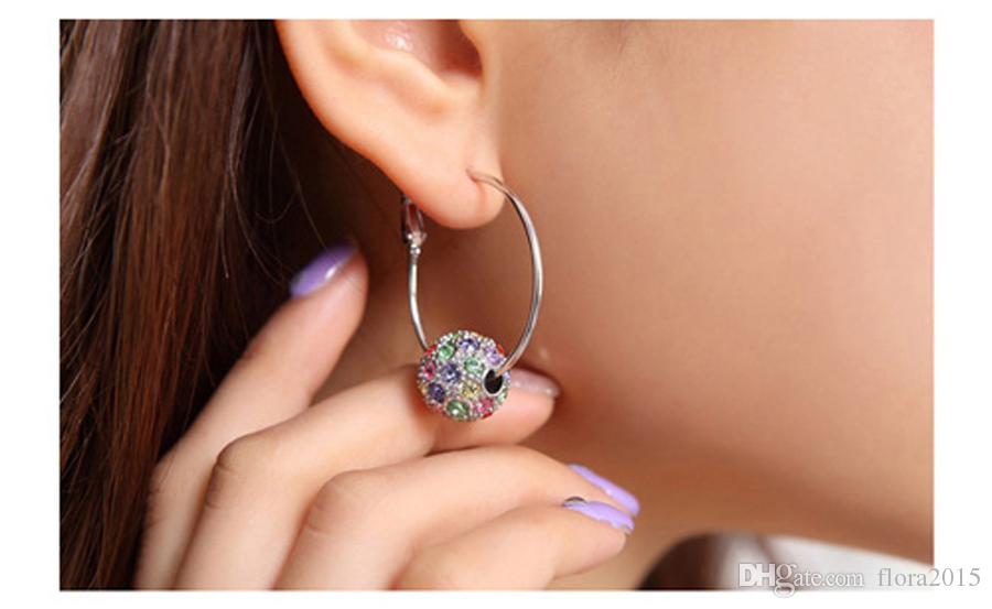 2017 New Fashion Jewelry Set Crystal From Swarovski Round Ball Pendant Necklace Stud Earrings For Women Weddings Jewelry