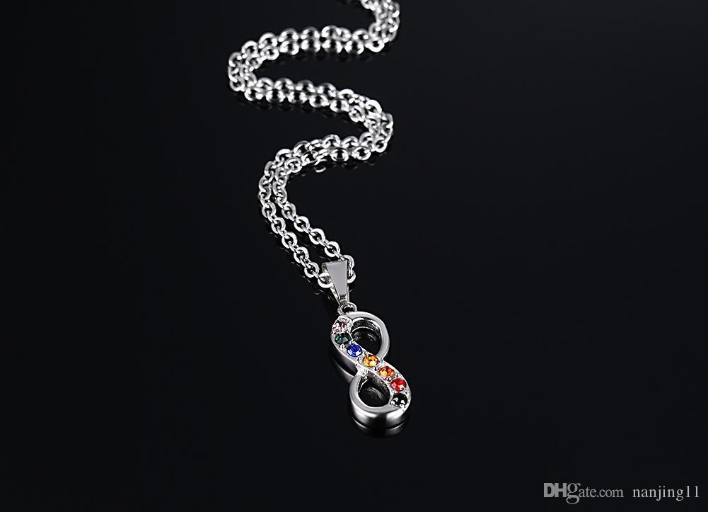 Endlose Liebe 8 Geformte Anhänger für Frauen Männer Edelstahl Infinity Gay Stolz Halskette Freie Kette Frauen Schmuck PN-559