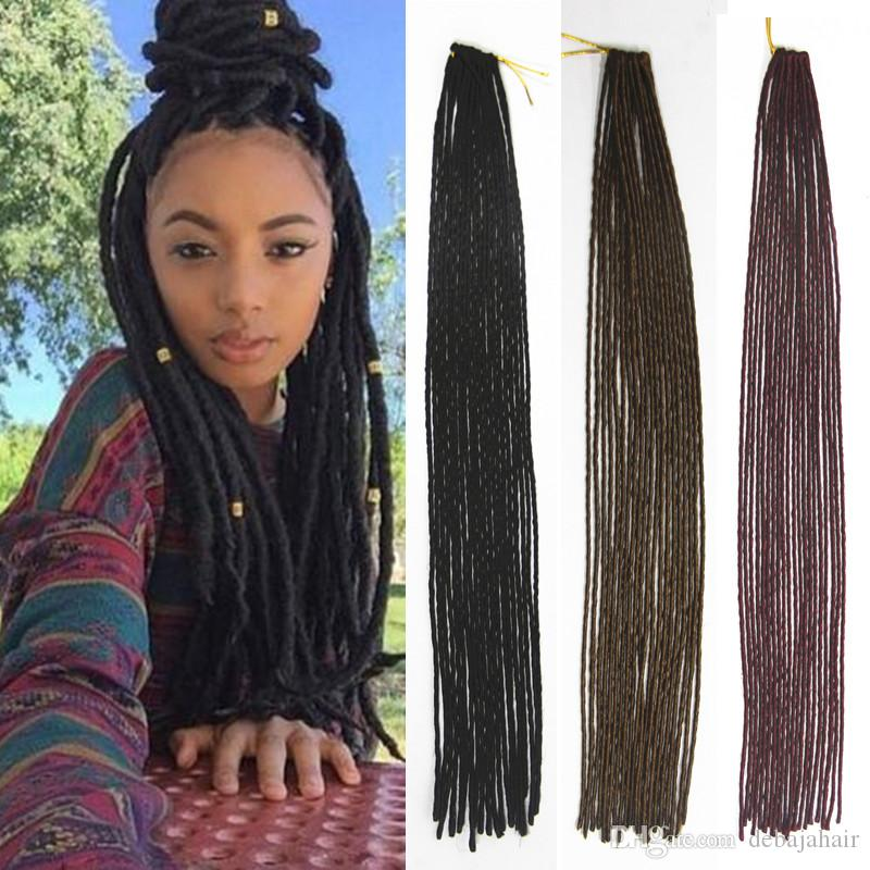 Burgundy Brown Black Havana Twist Faux Locs Crochet