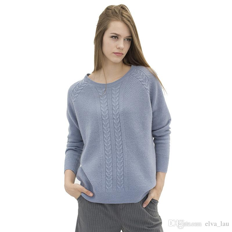 2017 100% Pure Cashmere Sweaters Woman Long Sleeve Plus Size Loose ...