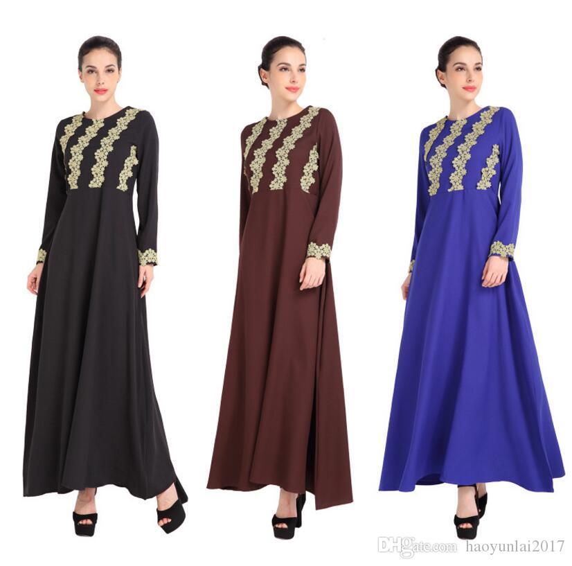 2018 Muslim Women Dress Fashion Turkey Lace Flower Arab Clothing ...