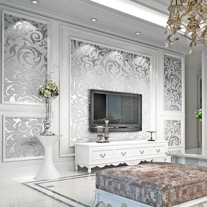 Luxury Damask Gold Silver Wallpaper For Walls 3 D Non Woven Wallcovering Living Room Bedroom Tv
