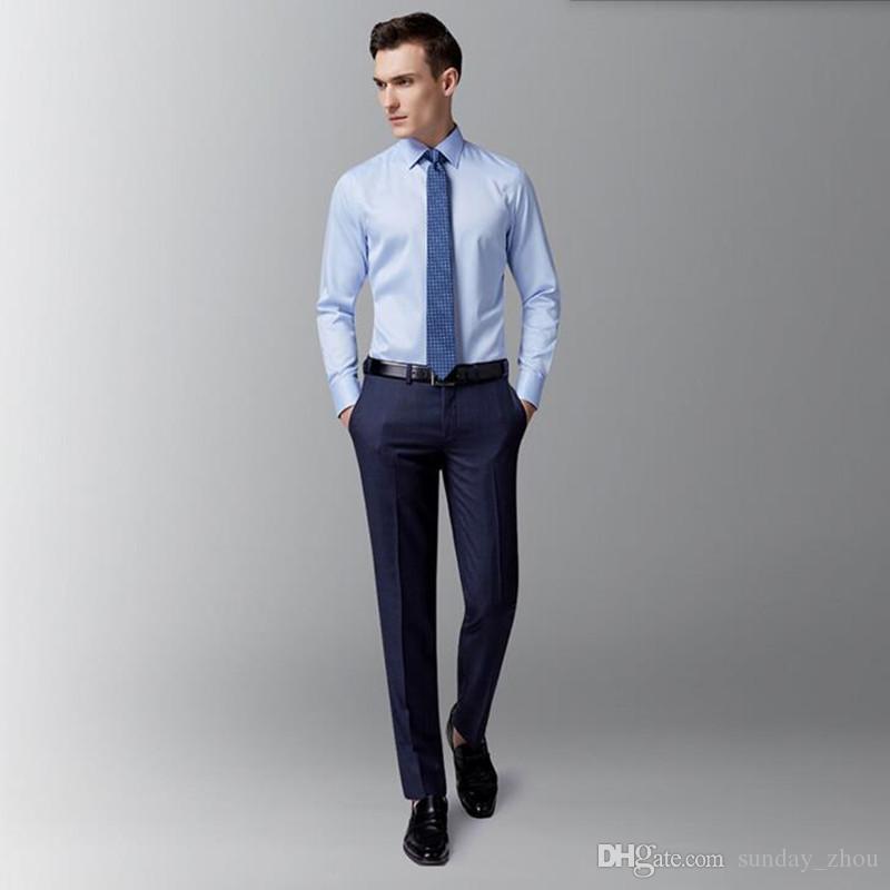 9677be51936 Compre Tailor Made Men Camisa Manga Larga Novio Camisa Azul Simple Generoso  Negocio Ocio Moda Fiesta Smoking A  58.89 Del Sunday zhou