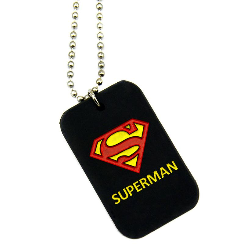 50PCS/Lot Superman Silicone Dog Tag Necklace with 24 Inch Ball Chain Perfect To Use In Any Benefits Gift For Gamer