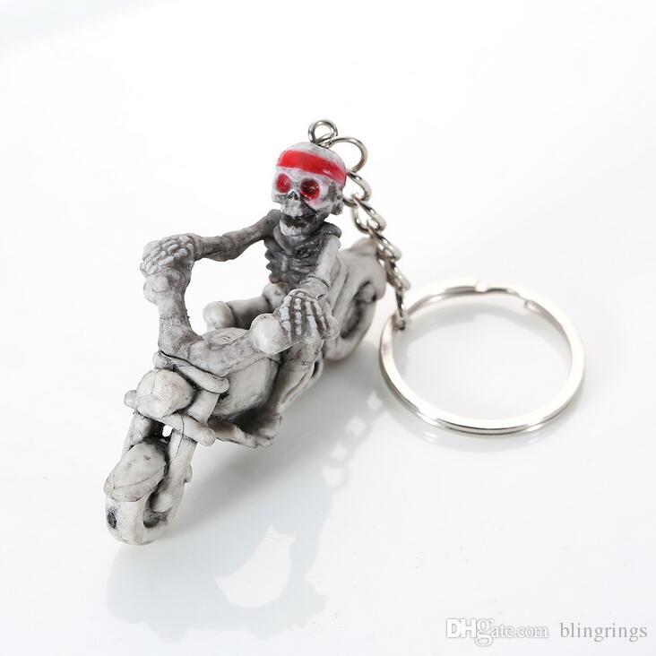 Skull head Keychains Rubber cycling Toilet Skateboard Skeleton Key Ring HandBag Pendant Car Keyring PurseBag Buckle key chain Halloween Gift