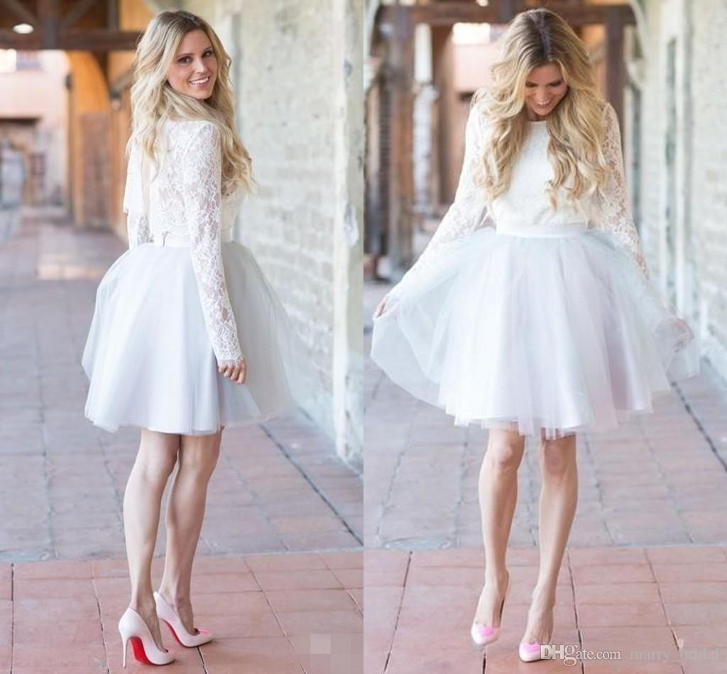 Discount simple white lace beach long sleeve short wedding for Simple wedding dresses short