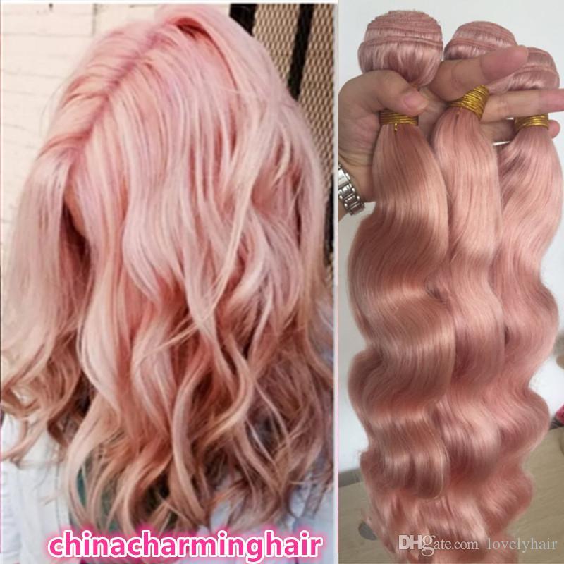 Pink Human Hair Bundles 100 Unprocessed Remy Hair Weave 10a Grade