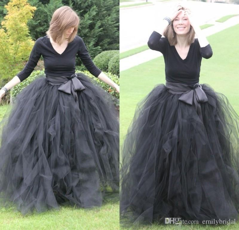 Black Tutu Skirt For Women Ruffled Tulle Long Puffy Skirts