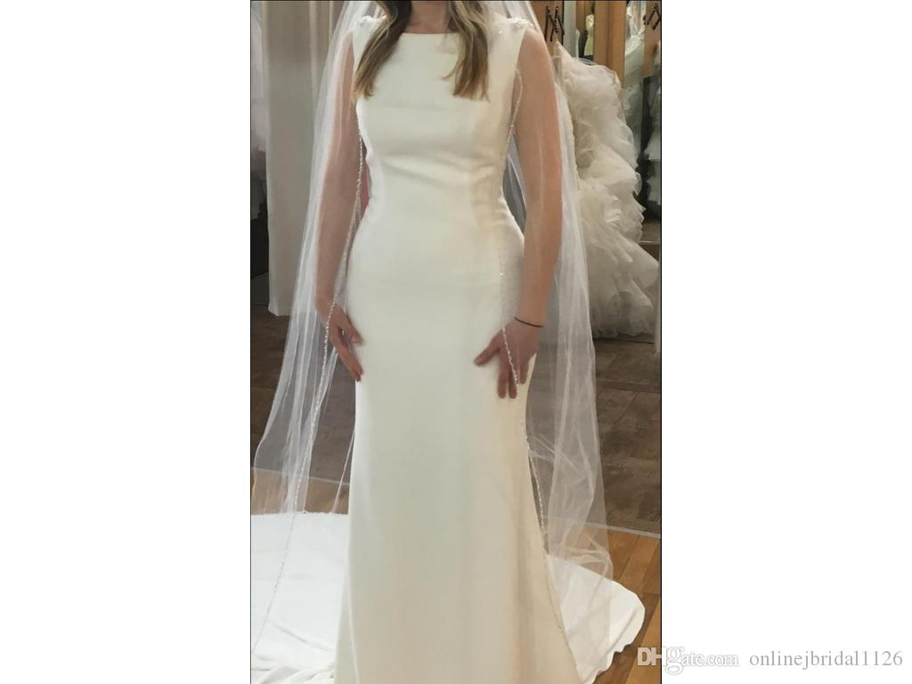 Sexy Custom Made Fit and Flare Bateau Neckline V Back Appliques Beading Mermaid Tatiana Wedding Dress Bridal Gown COR-554 Robe De Mariee