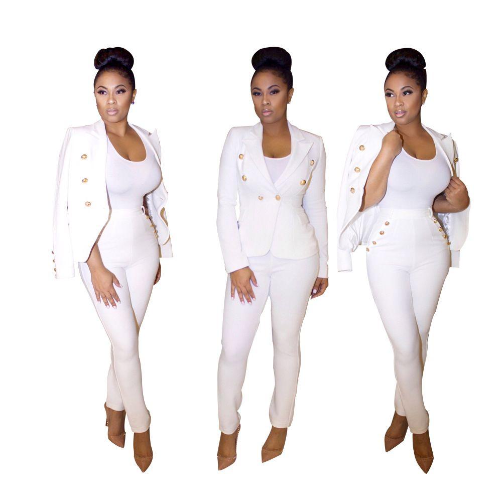 Women S Two Piece Sets 2018 New Fashion Spring Autumn White Black Suit Set  Women S Two Piece Pants Womens Jacket Tops + Pants UK 2019 From  Li2710620023 2a98c744f2
