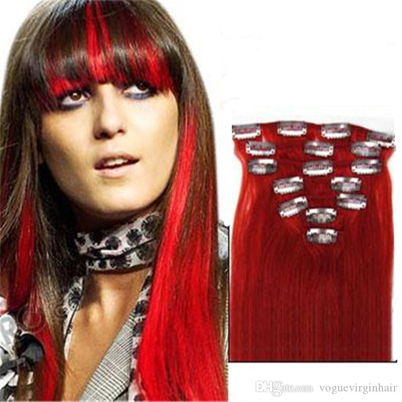 Red Brazilian Hair Clip In Extensions Clip In Brazilian Hair