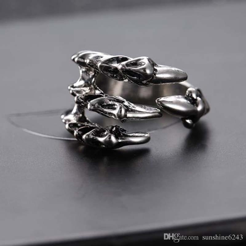 Punk Rock Edelstahl Mens Resizable Dragon Claw Ringe Vintage Gothic Schmuck Silber Farbe Dragon Claw Männer Ring