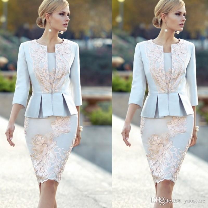 Großhandel Chic Appliqued Mutter Der Braut Kleider Mit 3/4 Ärmeln ...