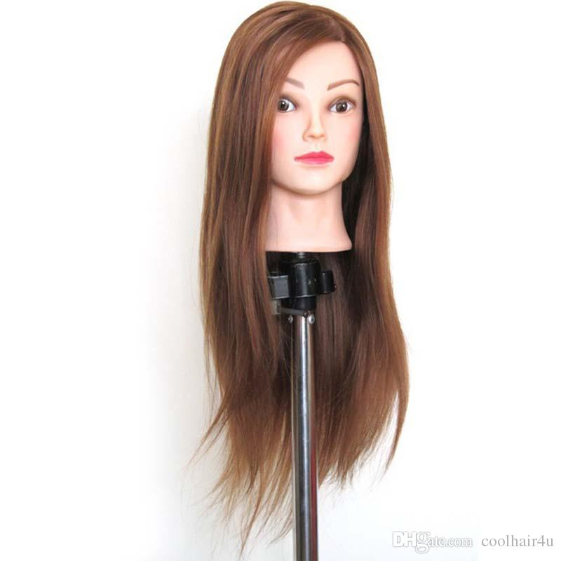Brown Great quality Synthetic Hair Hairdressing Training Head Mannequin 22'' Mannequin Head Can Be Curly With Makeup