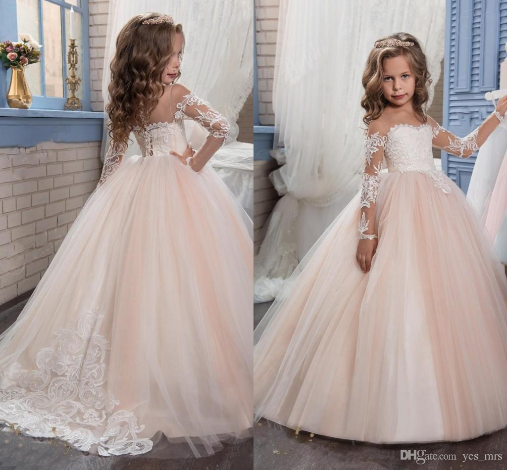 a1c3a52b02c 2019 New Cheap Flower Girls Dresses For Weddings Jewel Neck Long Sleeves  Lace Blush Pink Birthday Dress Children Party Kids Girl Ball Gowns Flower  Girl ...