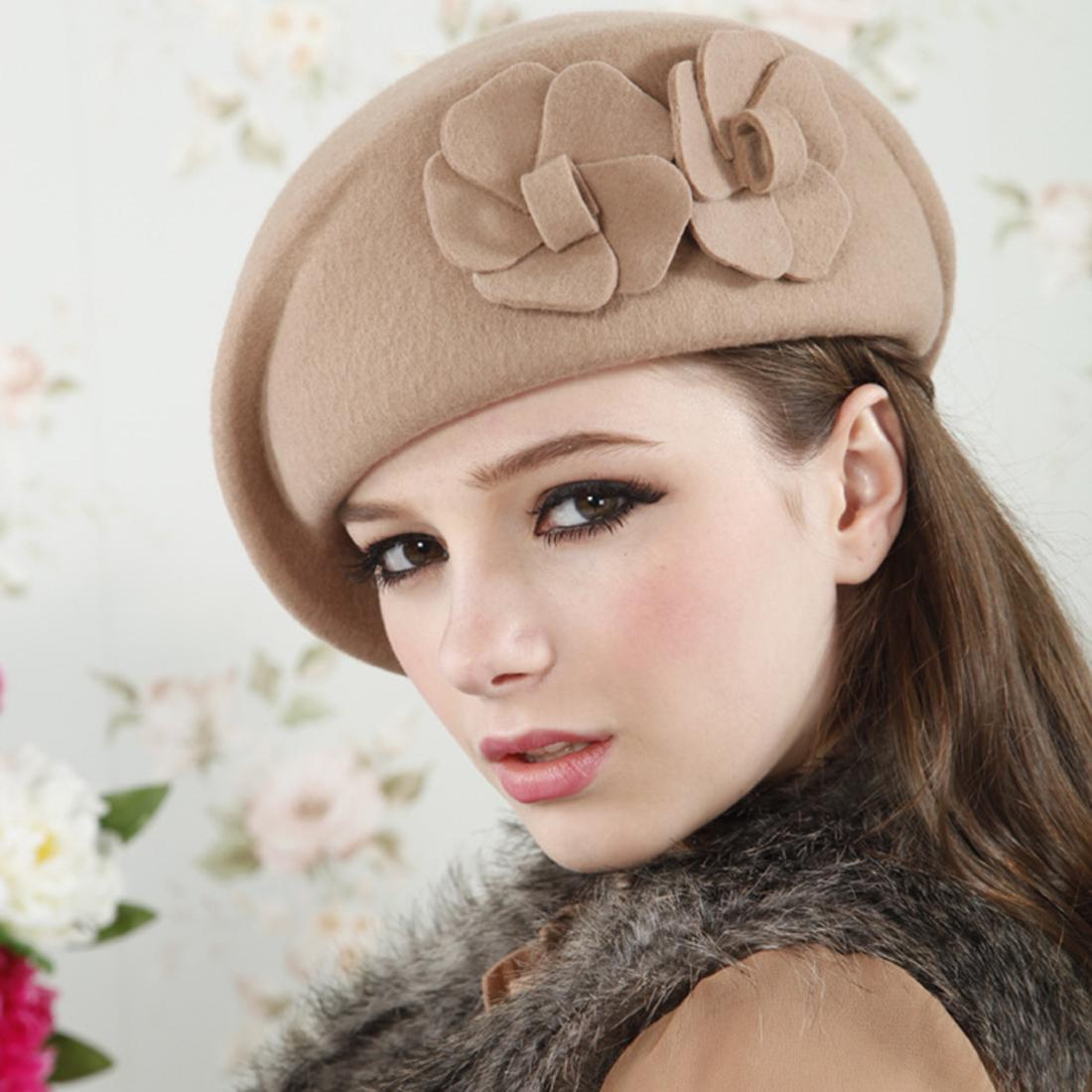 2019 Wholesale Autumn Winter Women Flower Beret Berets Ladies Girls Fashion  Elegant Party Hats 2016 Solid Stylish Woolen Caps Black Red Khaki From  Haydena d1ae3e5c0e
