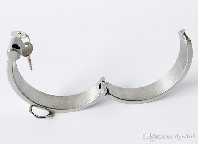 Lujo BDSM Slave Heavy Duty Collars de acero Bondage Restricción Mujer Anillo de cuello masculino SM Juguetes sexuales para parejas