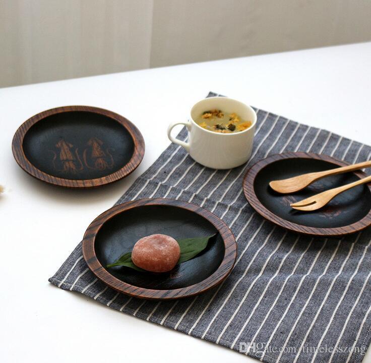Japanese Creations Vassoio di frutta in legno Dessert Servies Dish Prato Legno tondo Cibo Dolci Caffè Dinner Plates Snack Tray Tableware
