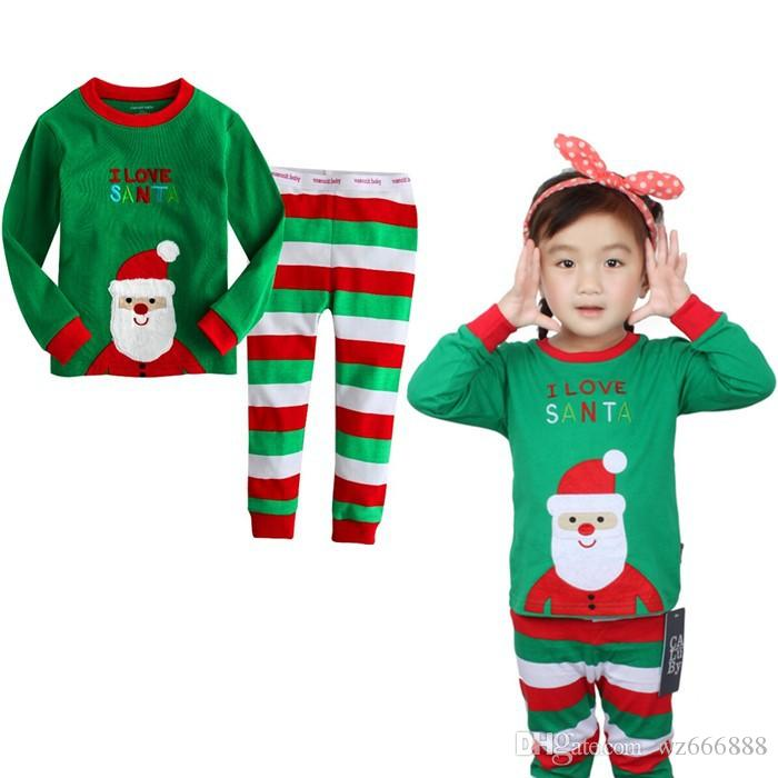 Baby Pajamas Christmas Striped Children Nightwear Long Sleeved ...