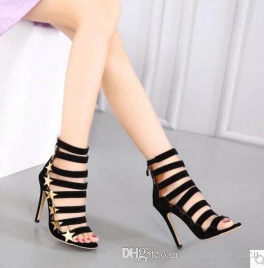 Новый 2017 золотые звезды сандалии женщин обратно zip тонкий каблук клетке бота открытым носком знаменитости обувь вырезы Гладиатор сандалии