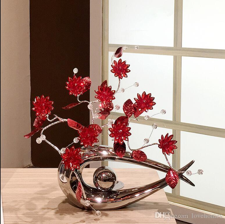 Modern Lucky fish Shape Ceramic Vase for Home Decor Tabletop this pirce is for a set vase and flowers together