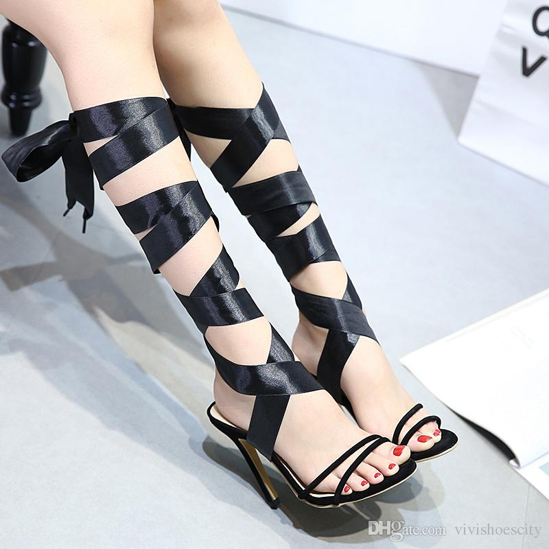 da5ea1bac26 Black Gladiator Sandals Shoes 2 Ways Satin Ribbon Ankle Wrap Cross Strappy  Thin High Heel Pumps Size 35 To 40 Suede Shoes Pumps Shoes From  Vivishoescity