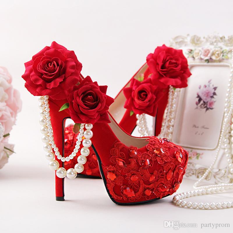 Красные Свадебные Туфли Цветочные Горный Хрусталь Свадебные Туфли На Каблуках Шпильках Флок Кожа Женская Мода Кристалл Аппликация Пром Насосы