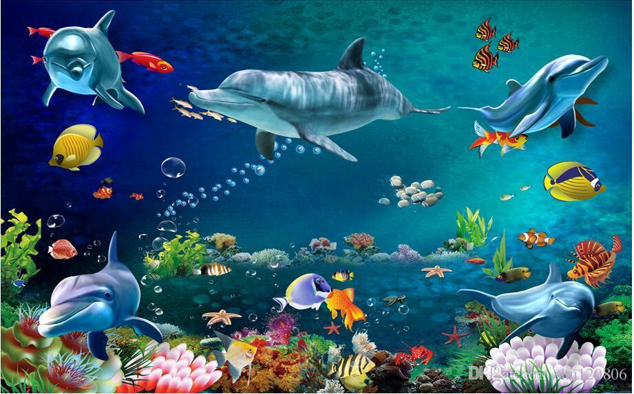 3d papier peint photo personnalisée murale monde de la mer dauphin paysage de la salle décoration de la peinture peintures murales 3d papier peint pour murs 3 d